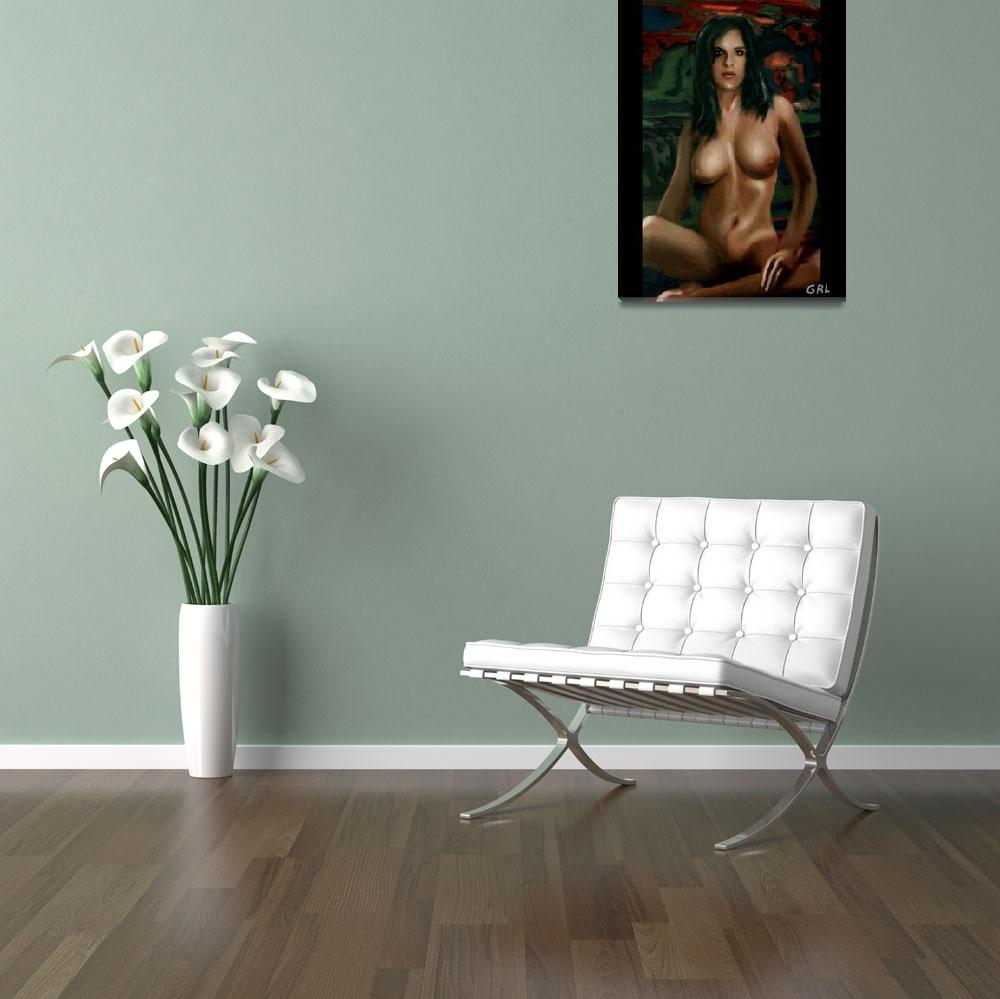 """Fine Art Nude Female Painting Sara Seated""  by grl"