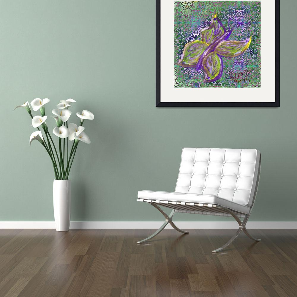 """purple and green butterfly with swirly background&quot  (2017) by dlmtleArt"