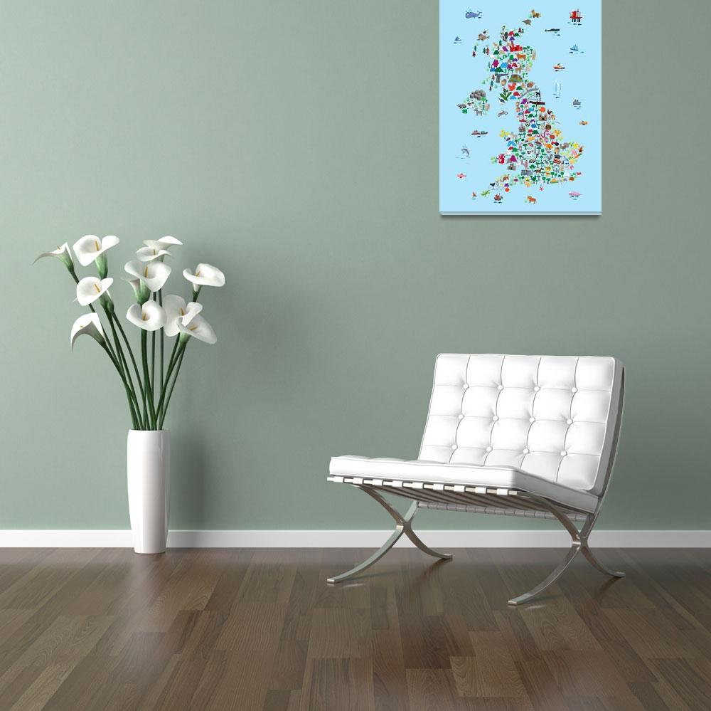"""Animal Map of Great Britain & NI for children and&quot  by ModernArtPrints"