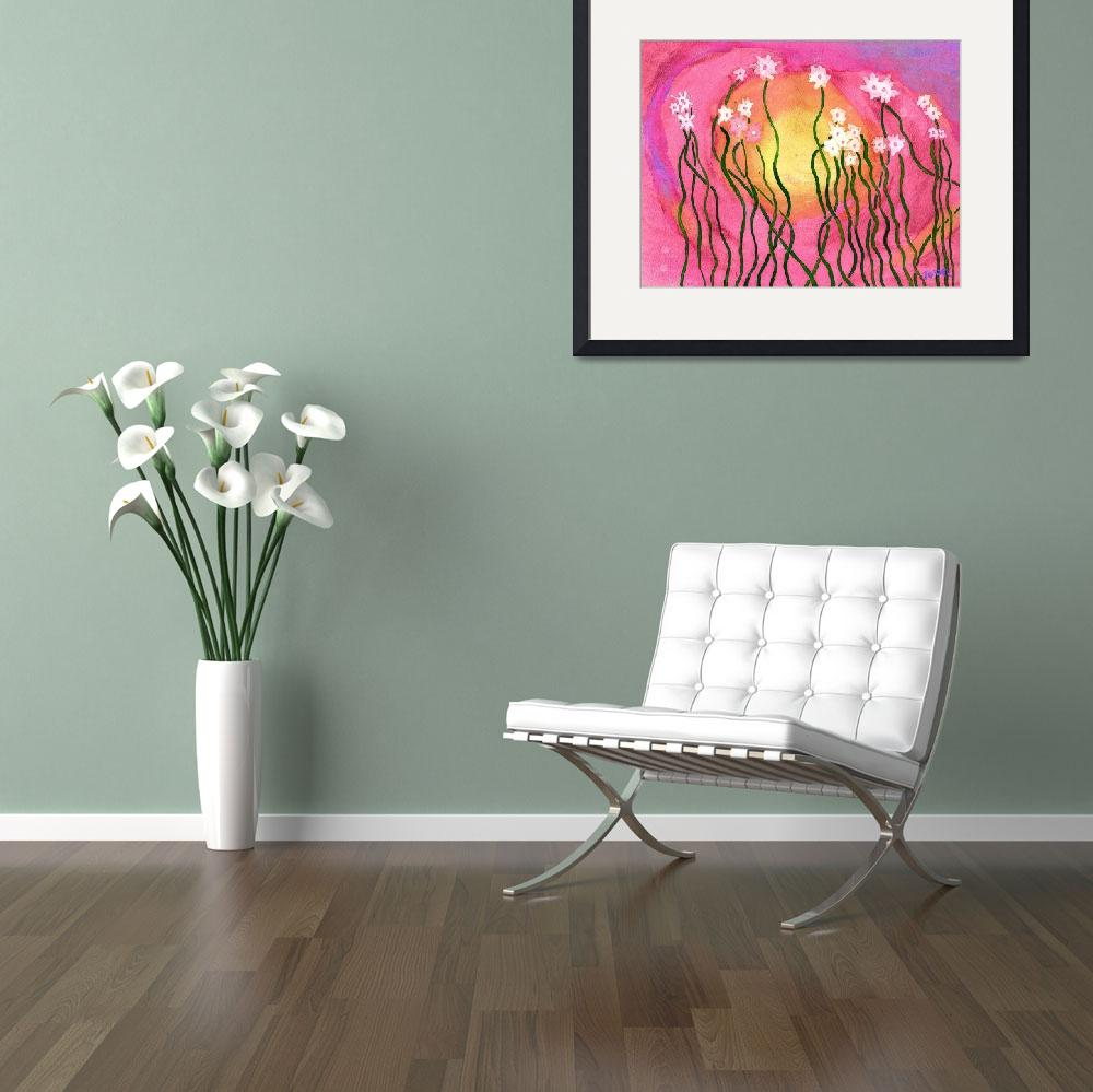 """""""Whimsical Pink and White Flowers Illustration""""  (2011) by JoDee"""