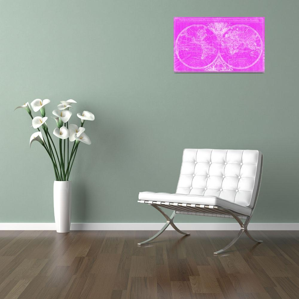 """""""World Map (1691) Pink & White&quot  by Alleycatshirts"""