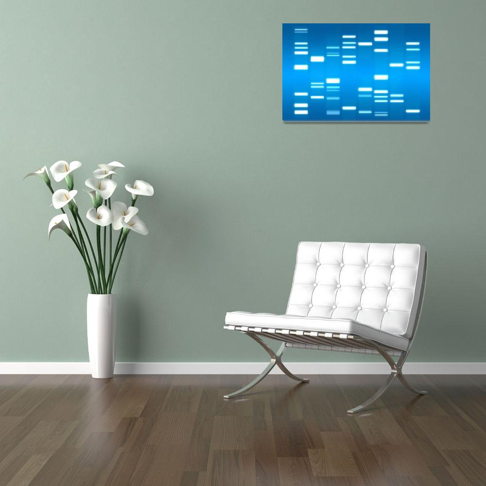 """DNA Art Sky Blue""  (2010) by ModernArtPrints"
