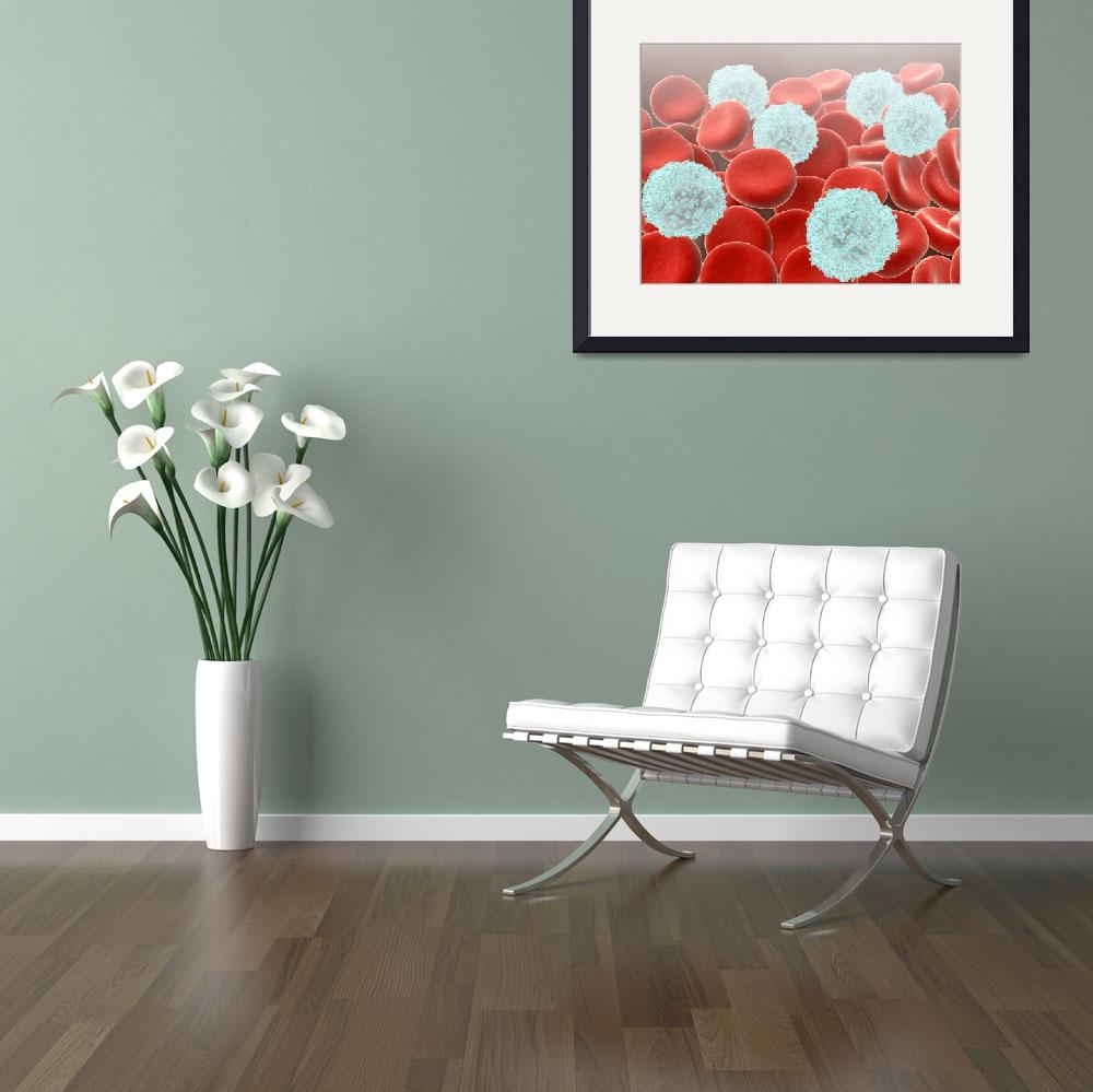 """Red blood cells with white blood cells&quot  by stocktrekimages"