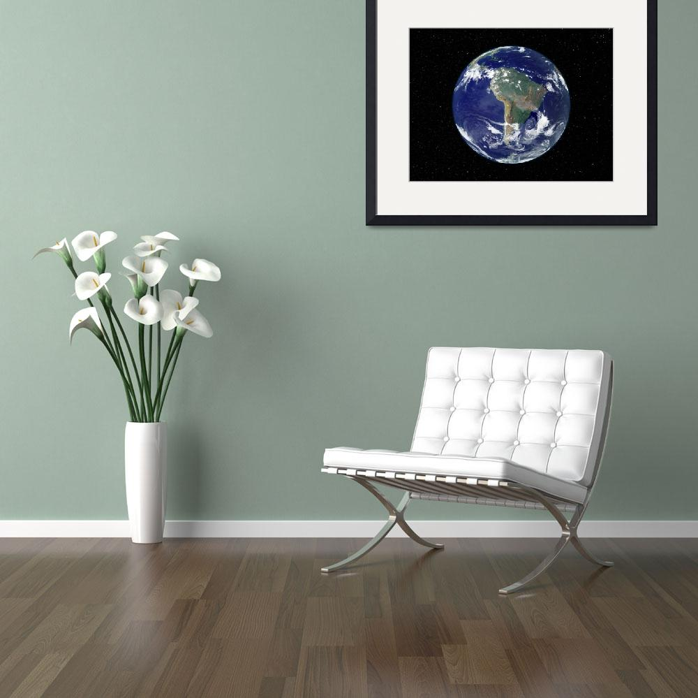 """""""Fully lit Earth centered on South America&quot  by stocktrekimages"""