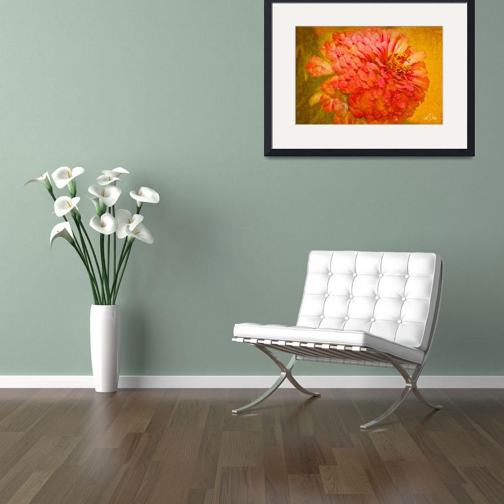 """""""Zinnia Flower Picture Floral Wall Art Print&quot  (2013) by PhotographsByCarolFAustin"""