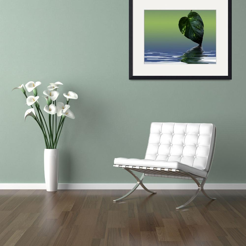 """""""Green Leave reflection poster&quot  (2007) by Chatterbox"""