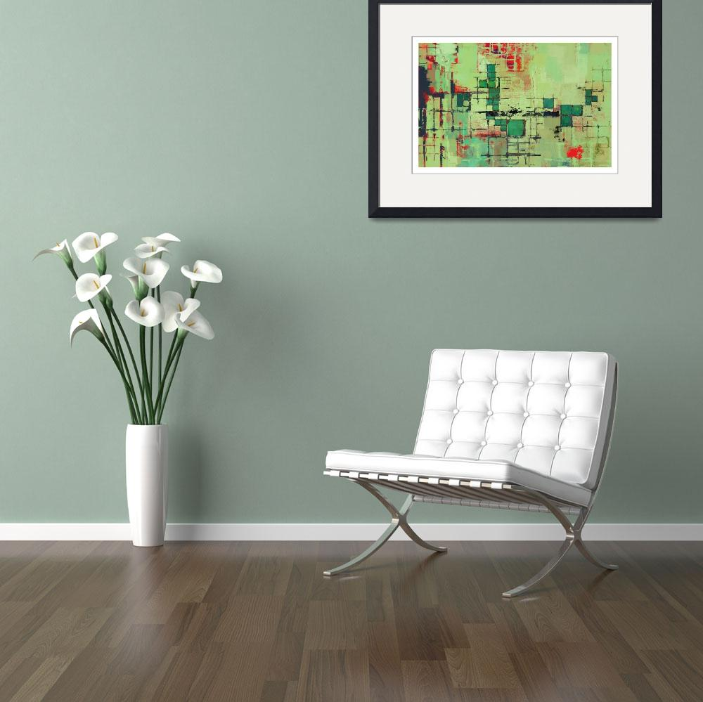 """""""Green Lattice Abstract Art Print&quot  (2007) by karynlewis"""