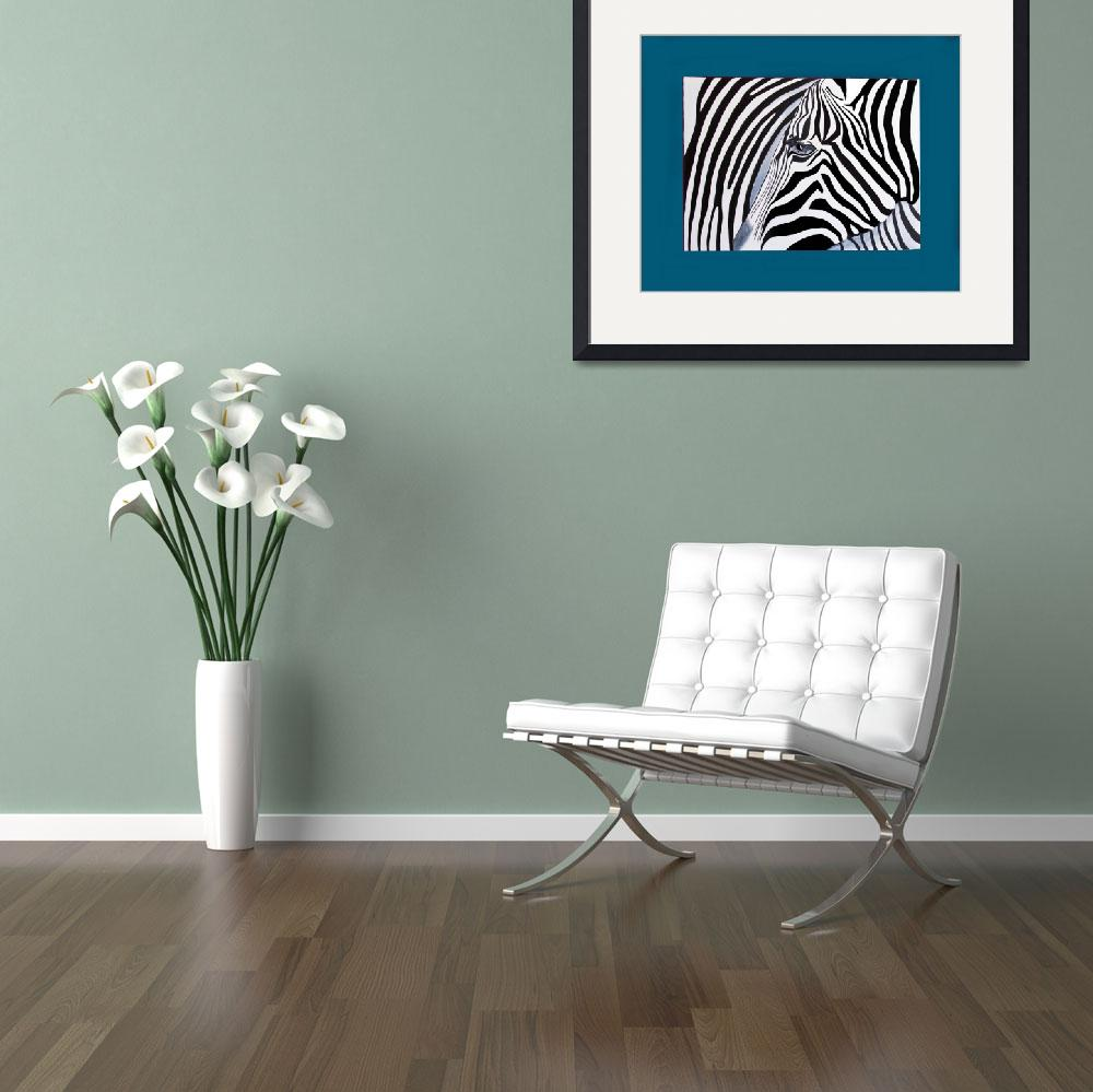 """""""Zebra abstract on blue&quot  (2011) by Spangles44"""