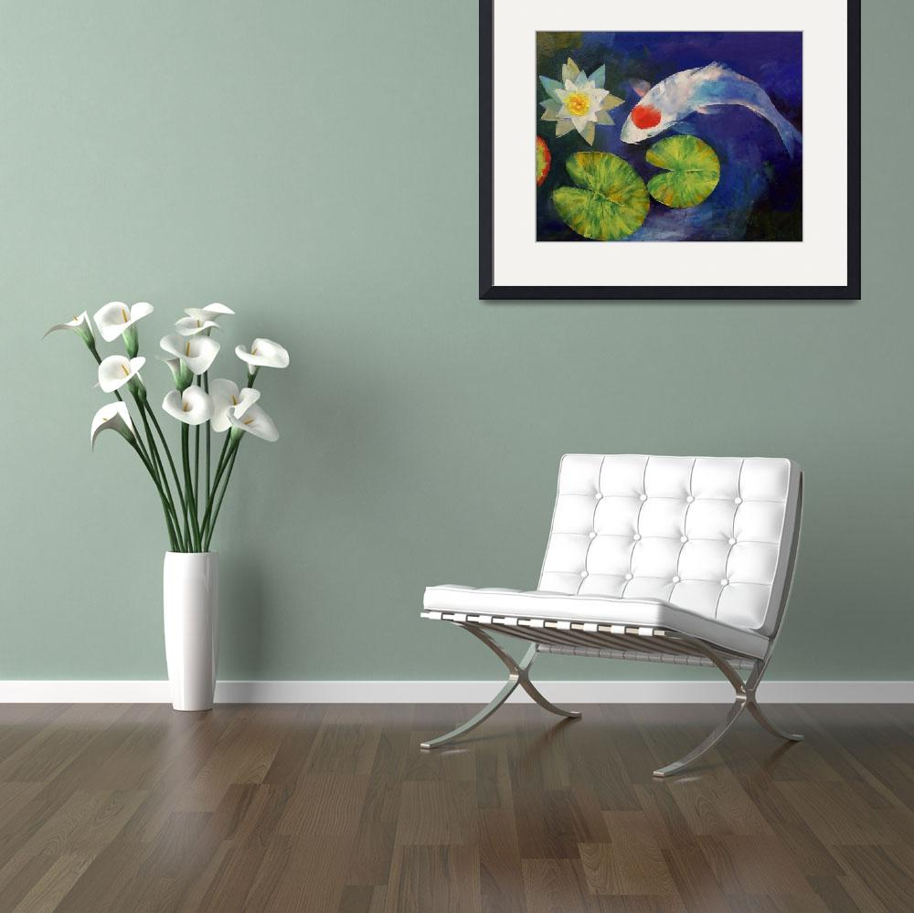 """""""Tancho Koi and Water Lily&quot  by creese"""