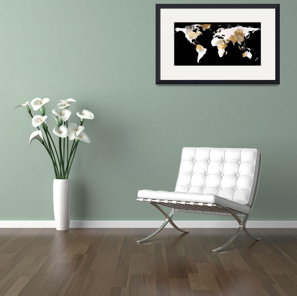 """""""World Map Silhouette - Popcorn&quot  by Alleycatshirts"""