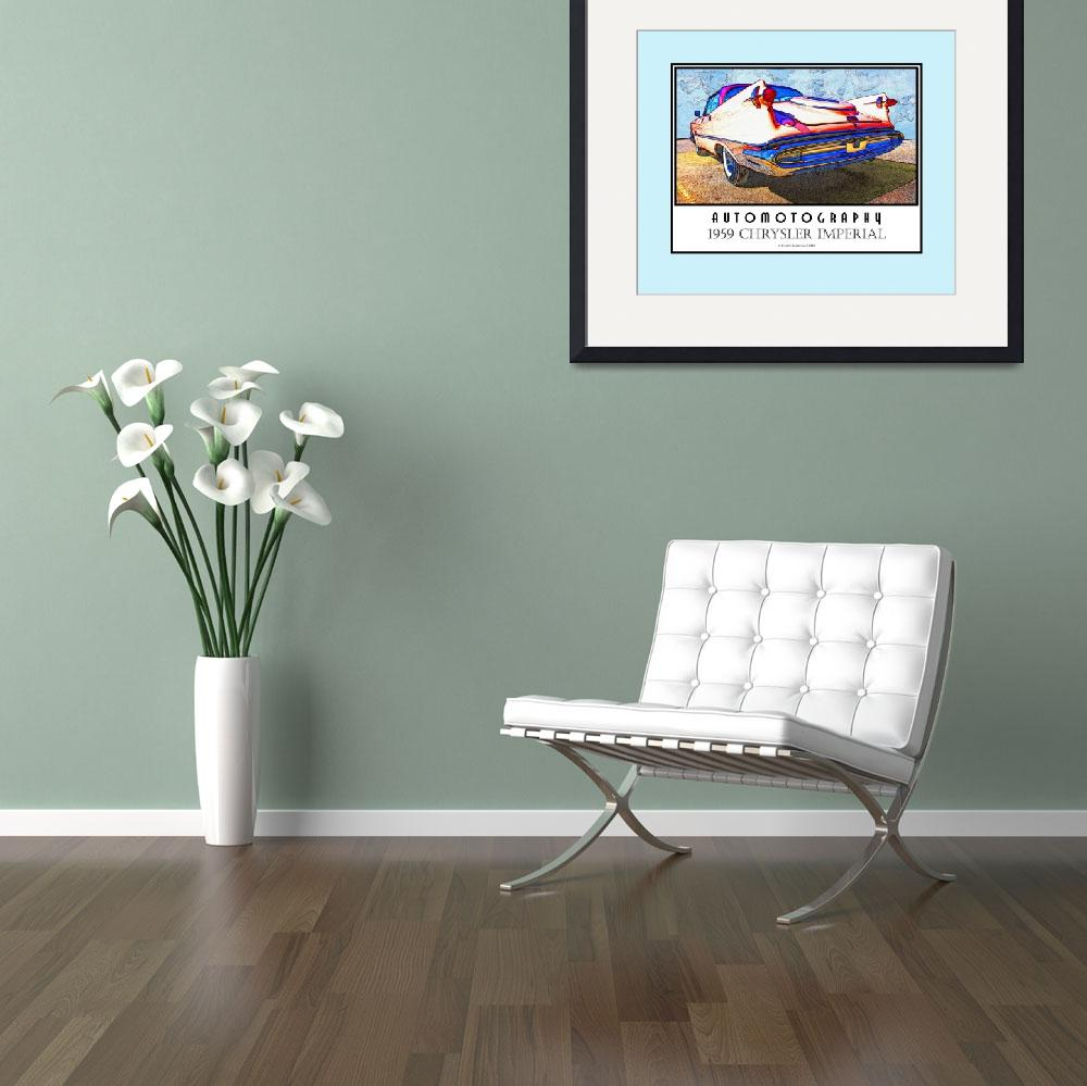 """1959 Chrysler Imperial Poster Teal Border&quot  (2008) by Automotography"