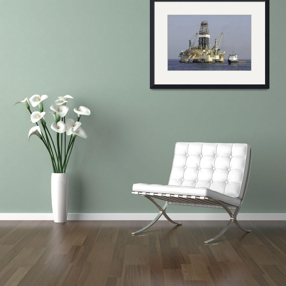 """""""Offshore oil rig with supply vessel alongside&quot  (2013) by Landbysea"""