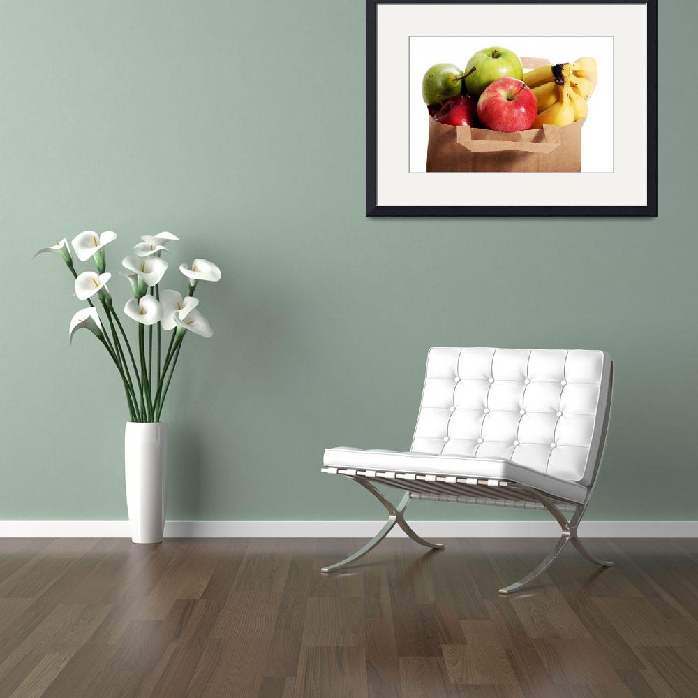 """""""Fruits in a paper bag. Isolated on white.&quot  by Piotr_Marcinski"""