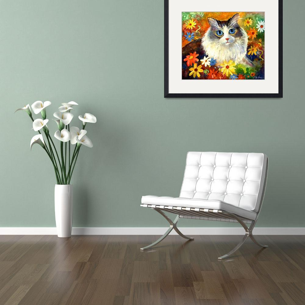 """Cute Tubby cat in flowers painting&quot  by SvetlanaNovikova"