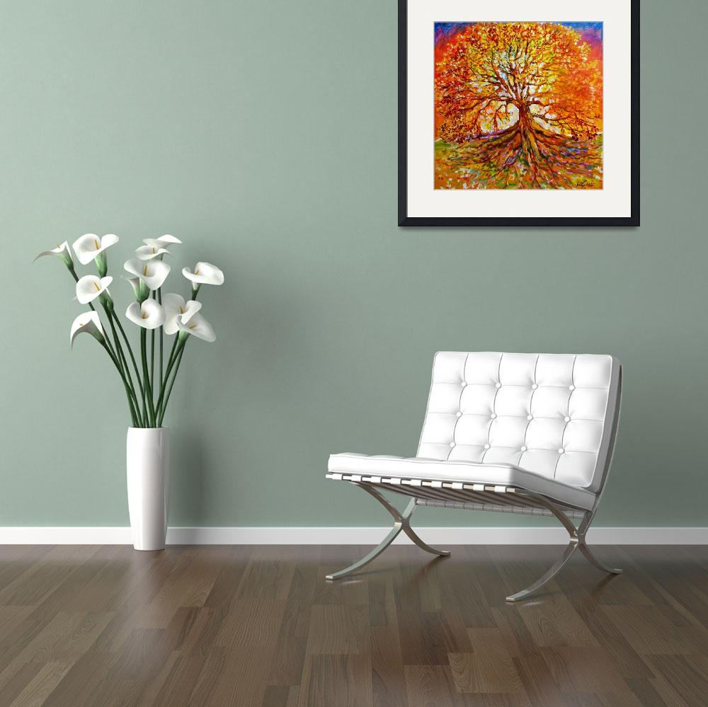 """""""Tree of Life Autumn Sunset&quot  (2007) by MBaldwinFineArt2006"""