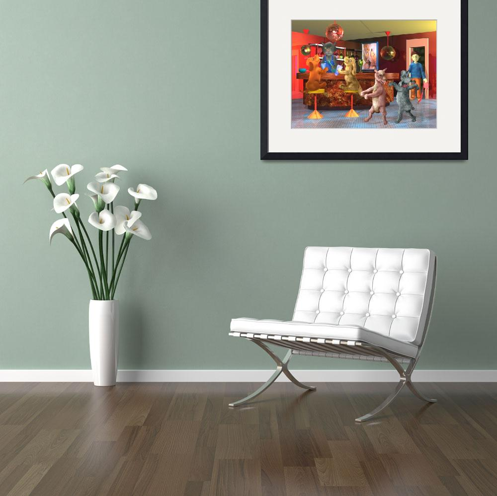 """""""teenager art,red,childrens room,dogs,boy,cat,decor&quot  (2004) by MarianneIlevitzky"""