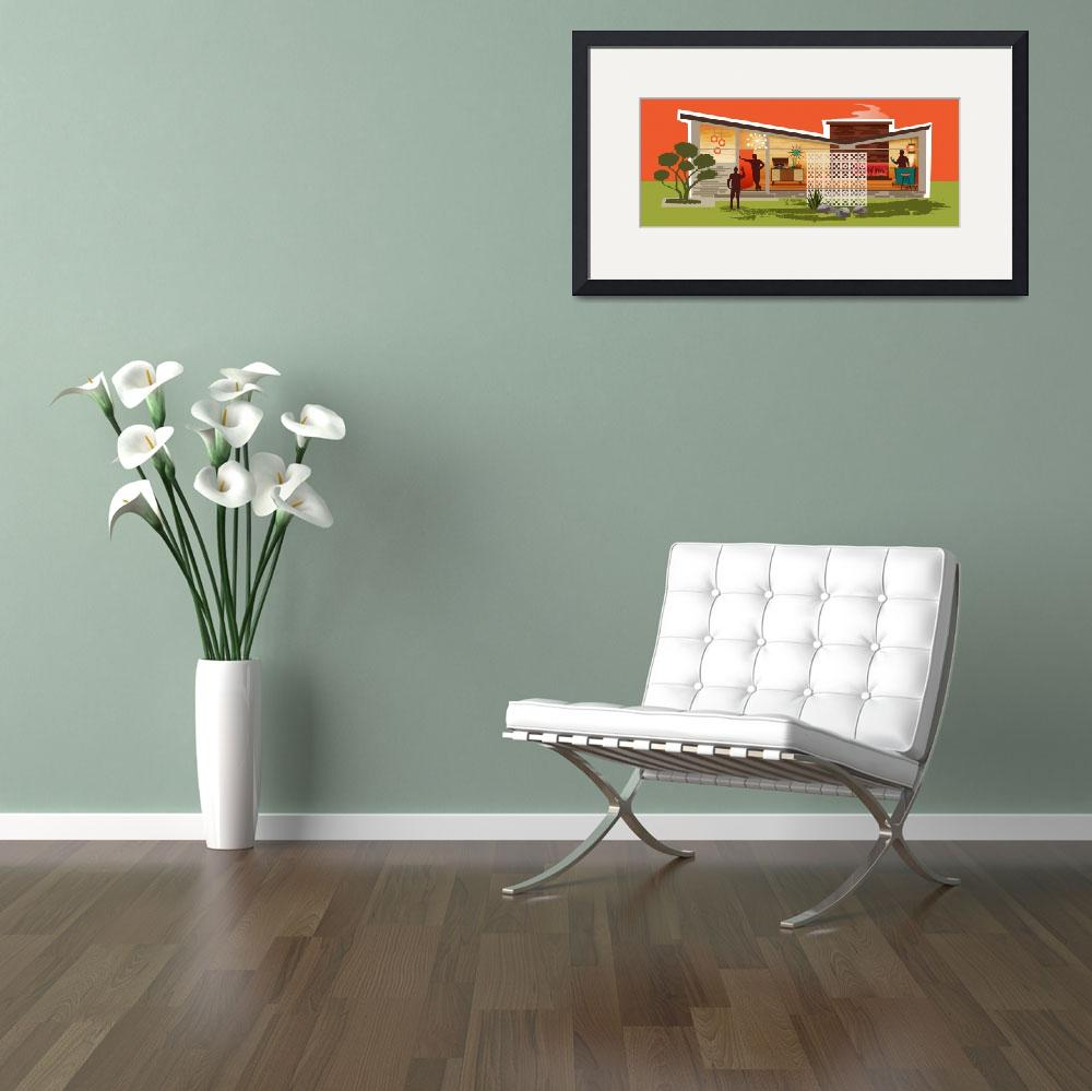 """""""Mid Century Modern House Gay Men   Butterfly Roof&quot  by DianeDempseyDesign"""