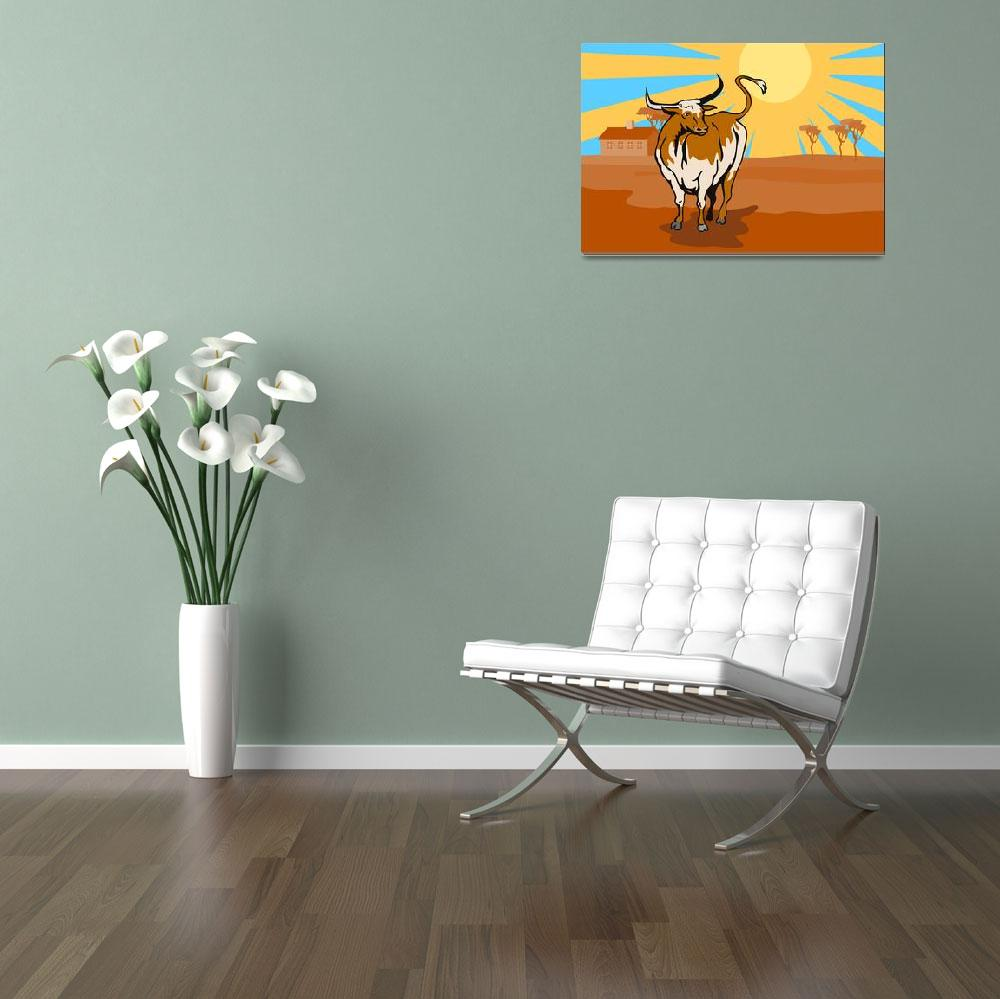 """Raging Bull Attacking Retro""  (2013) by patrimonio"