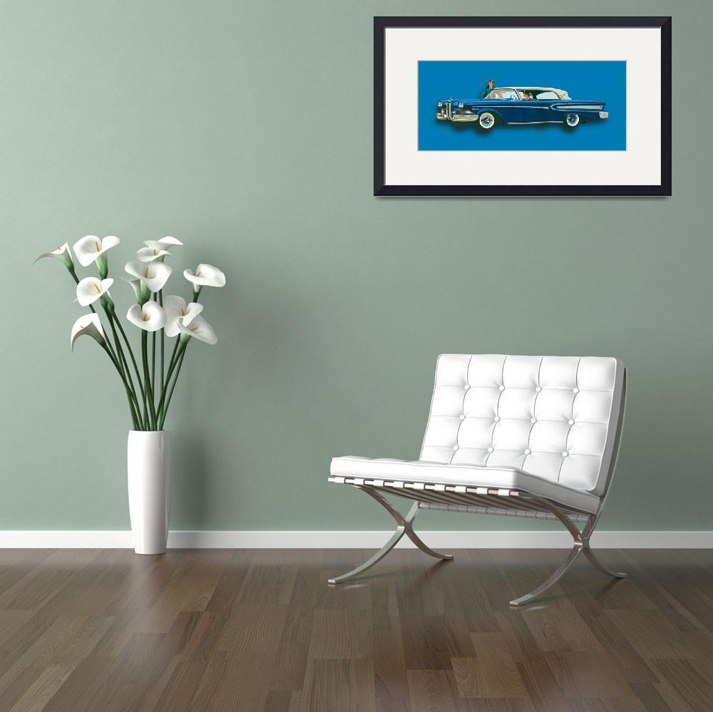 """Edsel Citation Car Advertisement Sedan Blue""  (2015) by RubinoFineArt"
