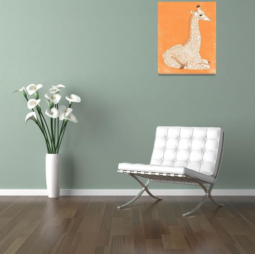 """Baby Giraffe in Orange""  (2014) by Littlepig"