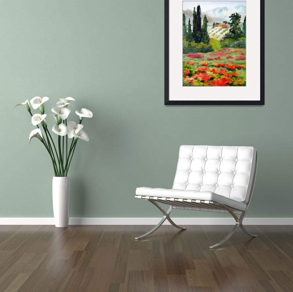 """""""Beyond the Poppies II Watercolor""""  by Fiorello"""
