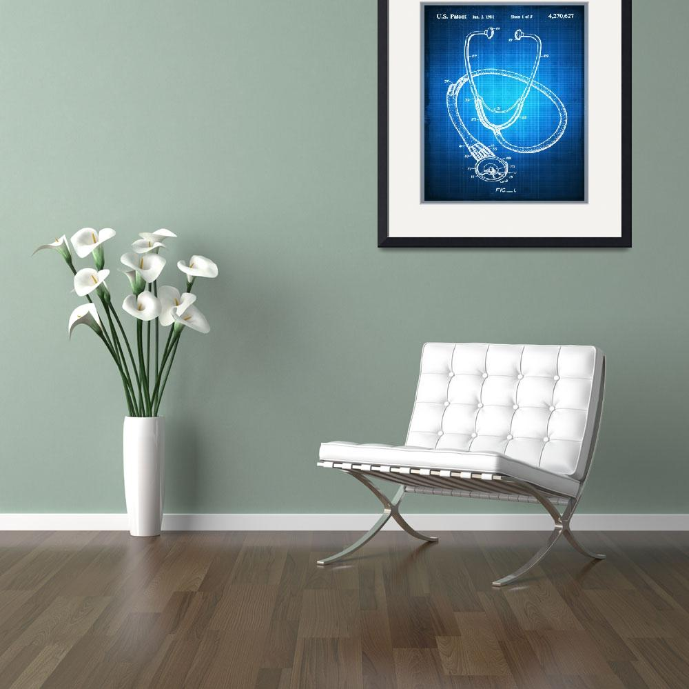 """""""Doctor Stethoscope 2 Patent Blueprint Drawing""""  (2018) by RubinoFineArt"""