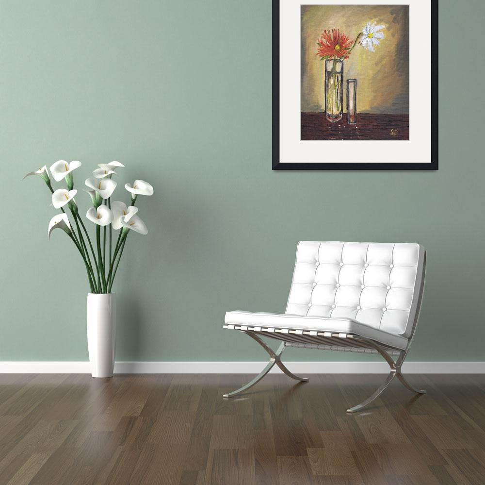 """""""Two Flowers in Glass Vases, floral, still life art&quot  (2015) by artprintsgalore"""