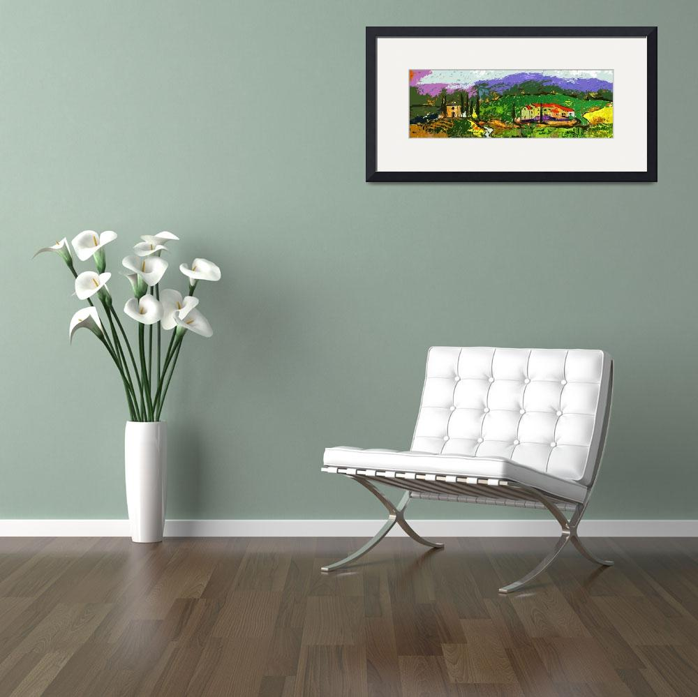 """""""Abstract Modern Tuscan Panoramic Landscape&quot  (2012) by GinetteCallaway"""