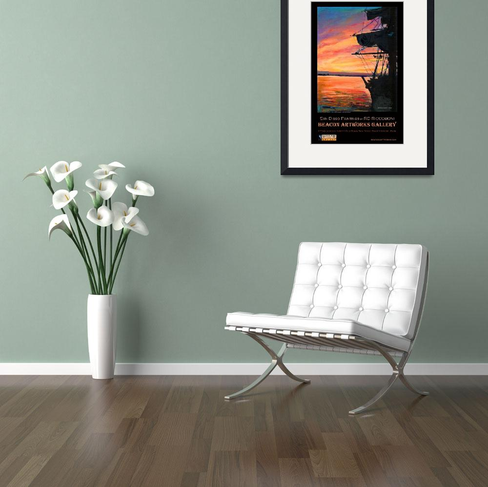 """""""San Diego Harbor Sunset by RD Riccoboni™ Poster&quot  (2009) by RDRiccoboni"""