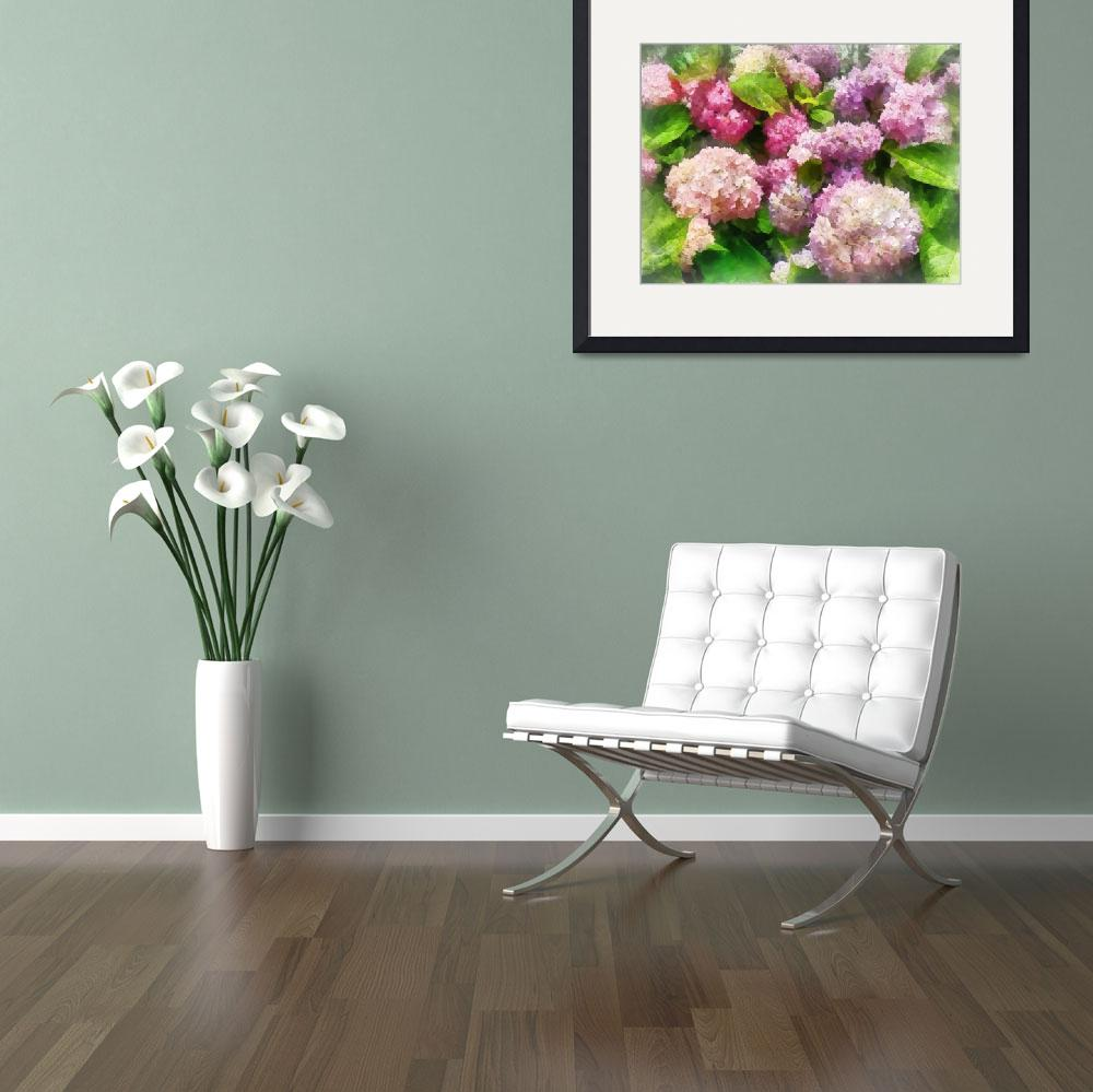 """""""Pink and Lavender Hydrangeas&quot  by susansartgallery"""