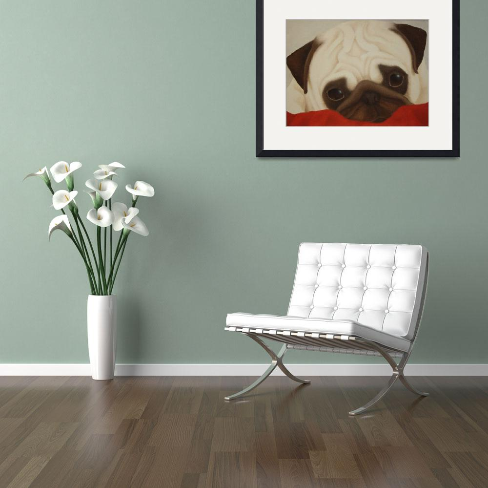 """""""Pug on Red Blanket&quot  (2015) by terrimeyers"""
