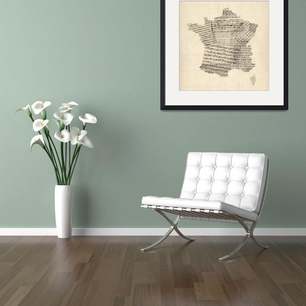 """Map of France Old Sheet Music Map&quot  (2012) by ModernArtPrints"
