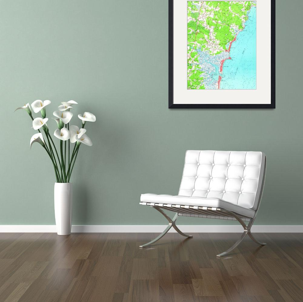 """""""Vintage Map of Hampton Beach New Hampshire (1957)&quot  by Alleycatshirts"""