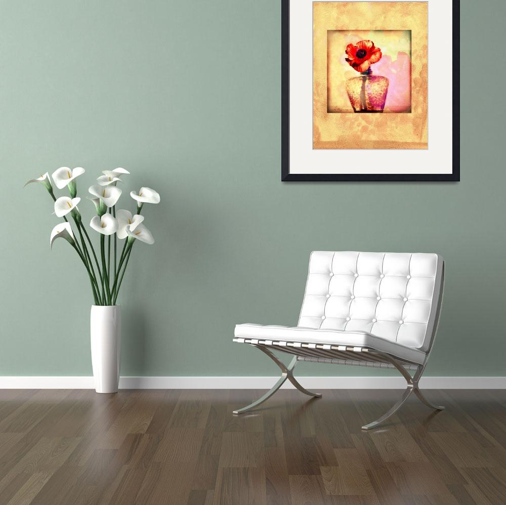 """""""large size poppy painting print wth border final&quot  (2009) by eyecontact"""