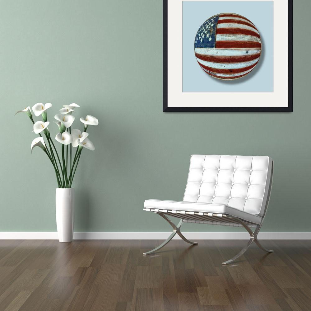 """American Flag Wood Orb""  (2018) by RubinoFineArt"