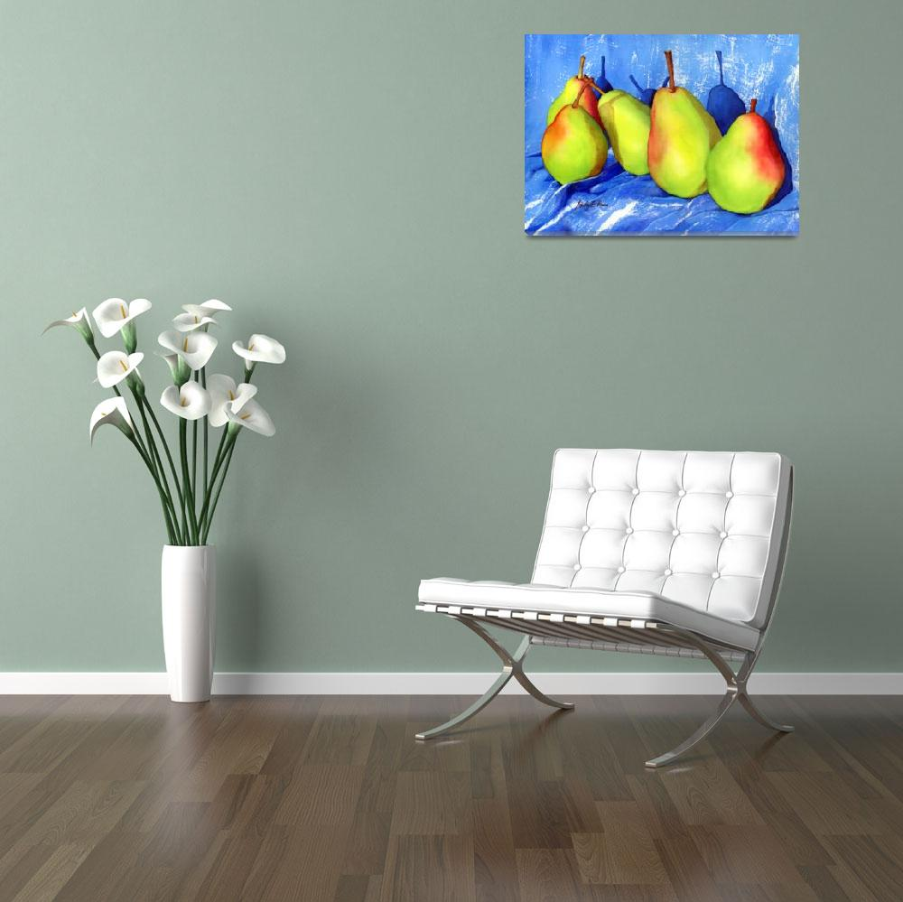 """Green Pears&quot  (2012) by HaileyWatermedia"