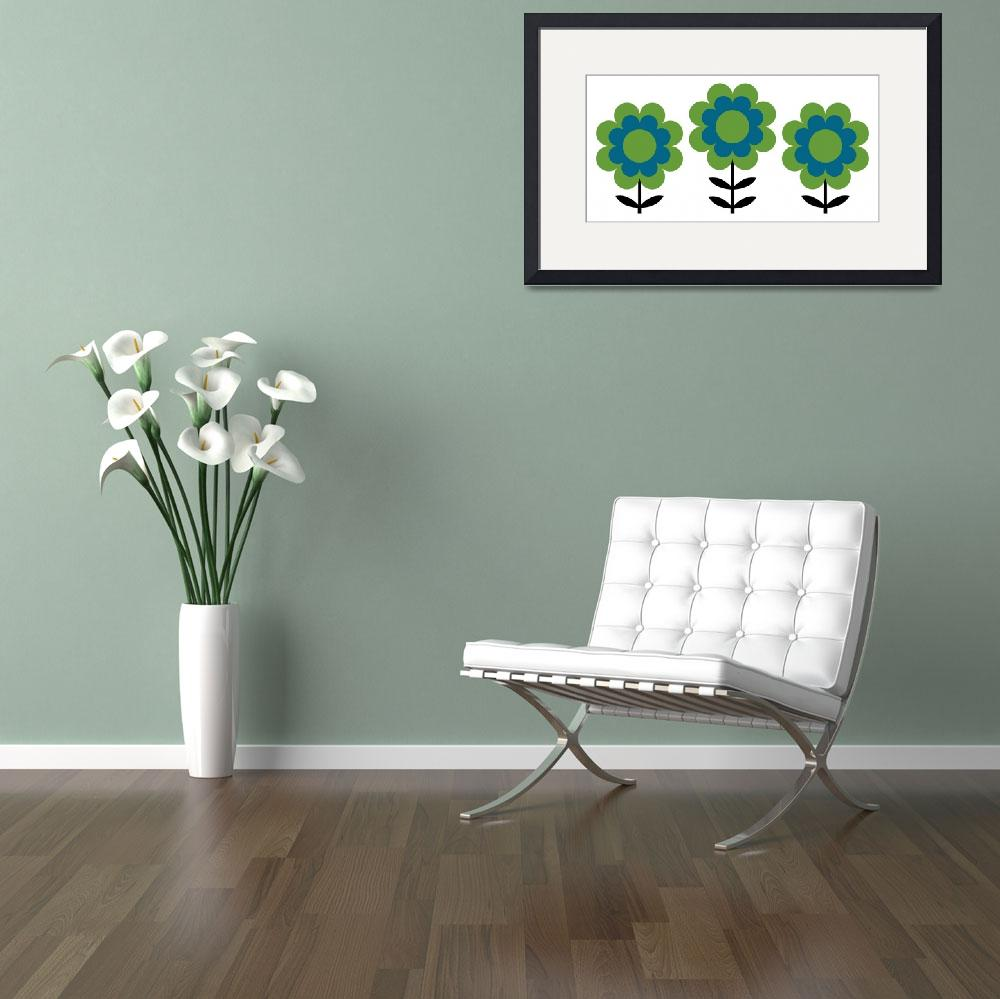 """""""Happy Flowers in Blue and Green&quot  by DMibus"""