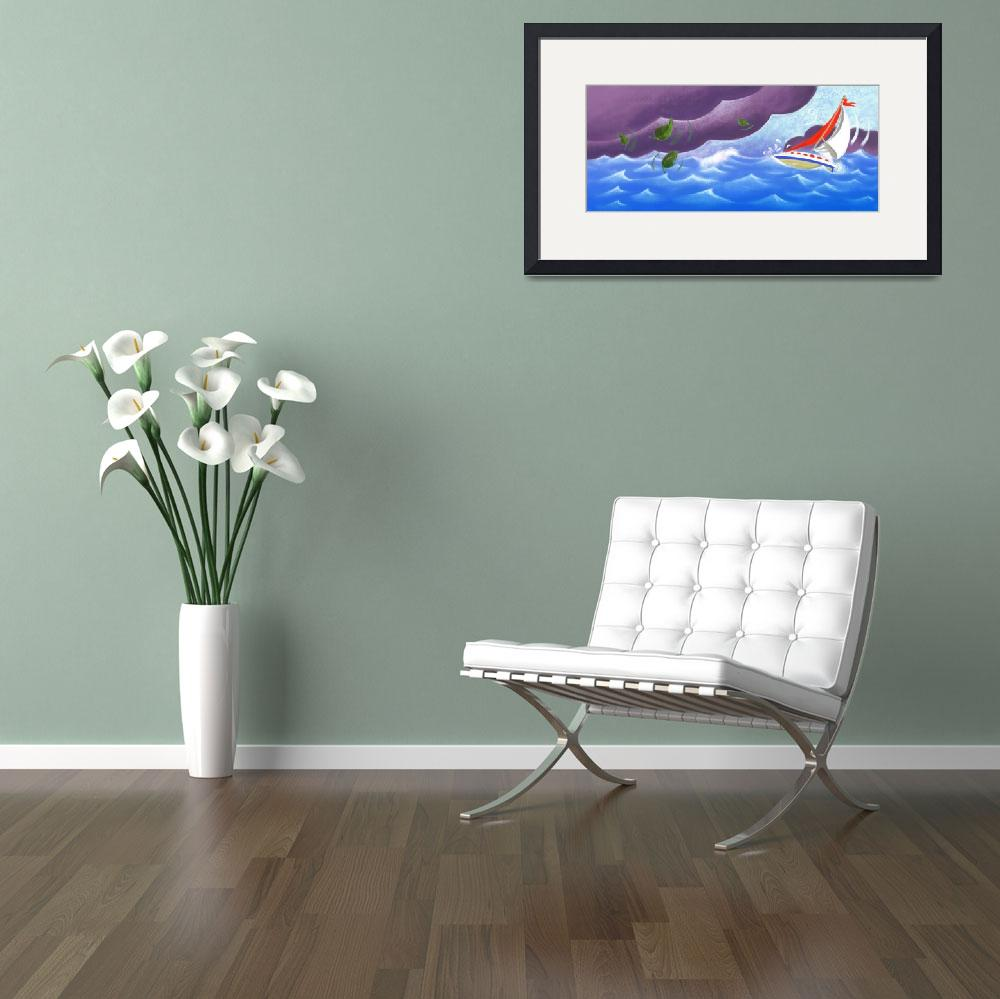 """""""Stormy Sailboat&quot  by LauraFreeman"""