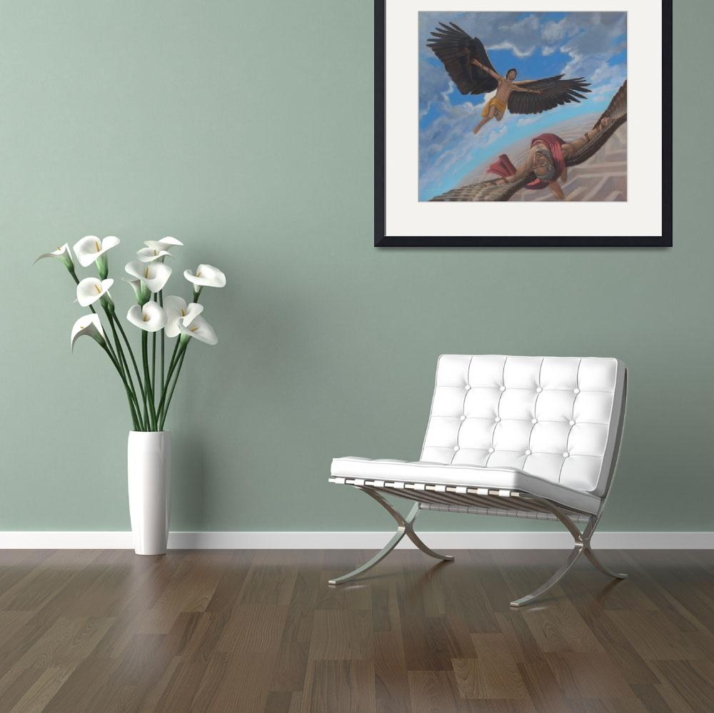 """""""Icarus and Daedalus&quot  (2011) by claudebuckleyfineart"""