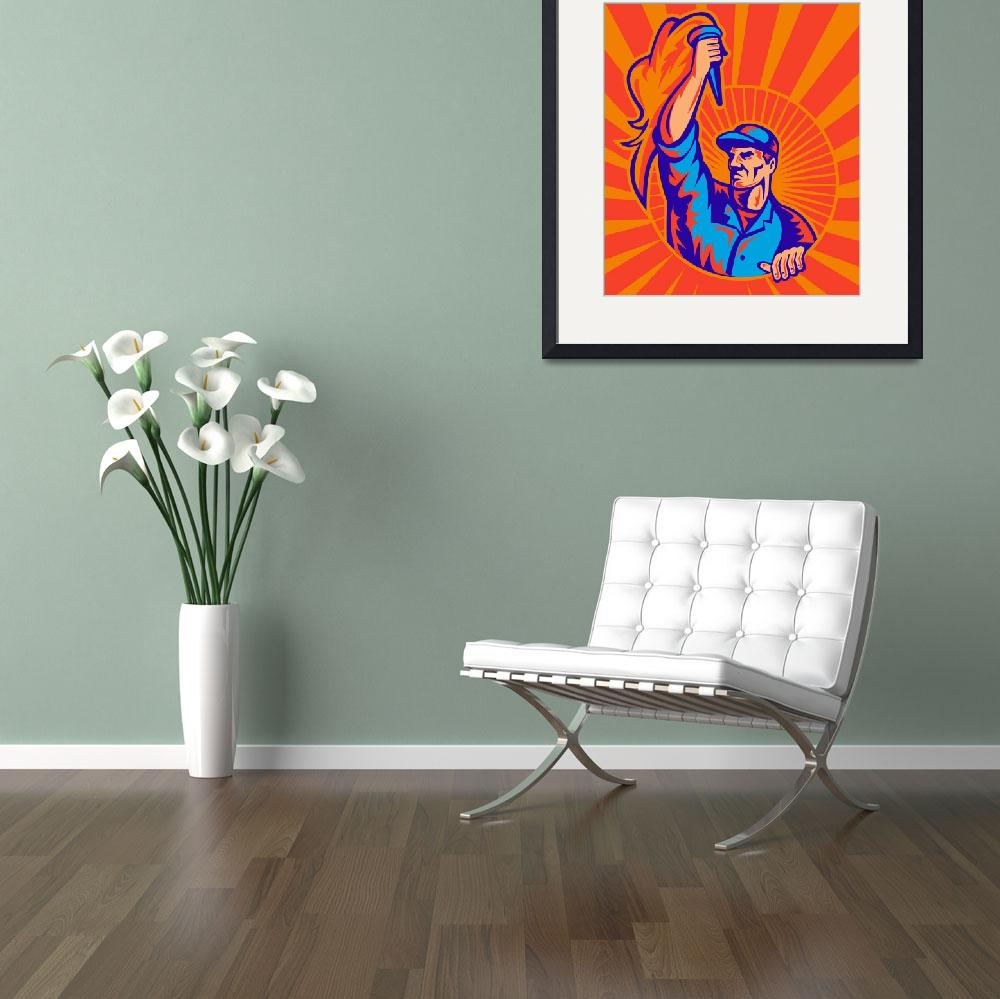 """""""worker carrying flaming torch sunburst retro&quot  (2011) by patrimonio"""