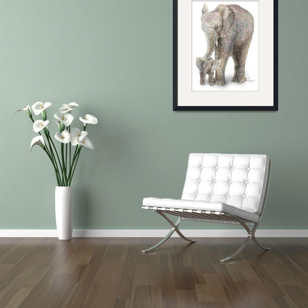 """""""mom and baby Elephant&quot  (2008) by LisaMclaughlin"""