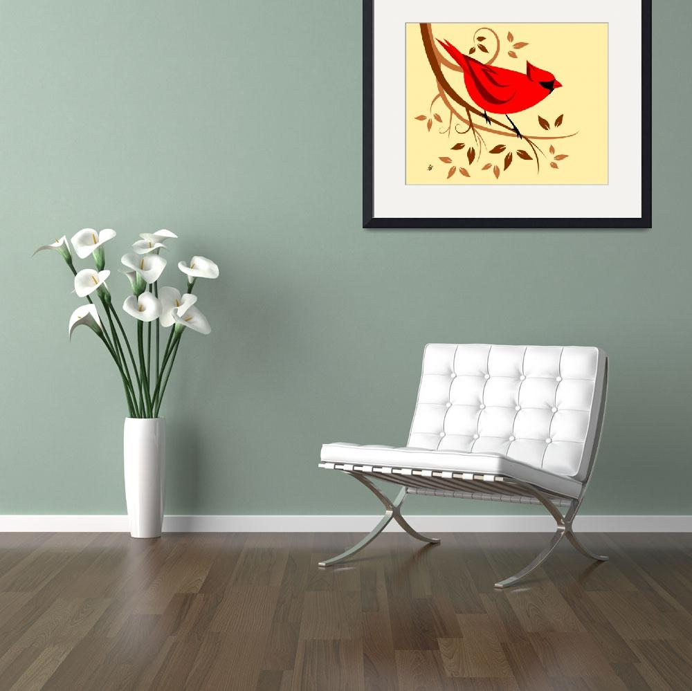 """""""Red Northern Cardinal&quot  by waterart"""