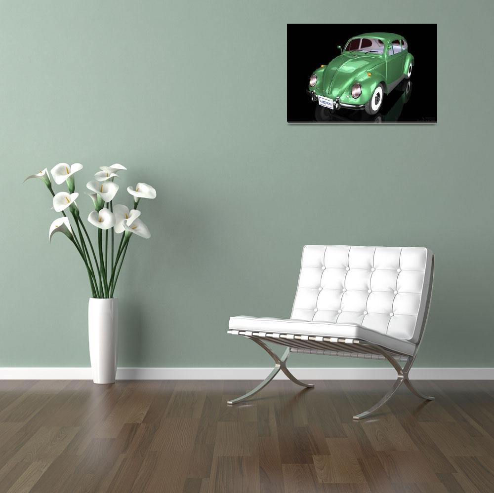 """""""Volkswagen Beetle - 3D Model&quot  (2011) by WallArtDeco"""