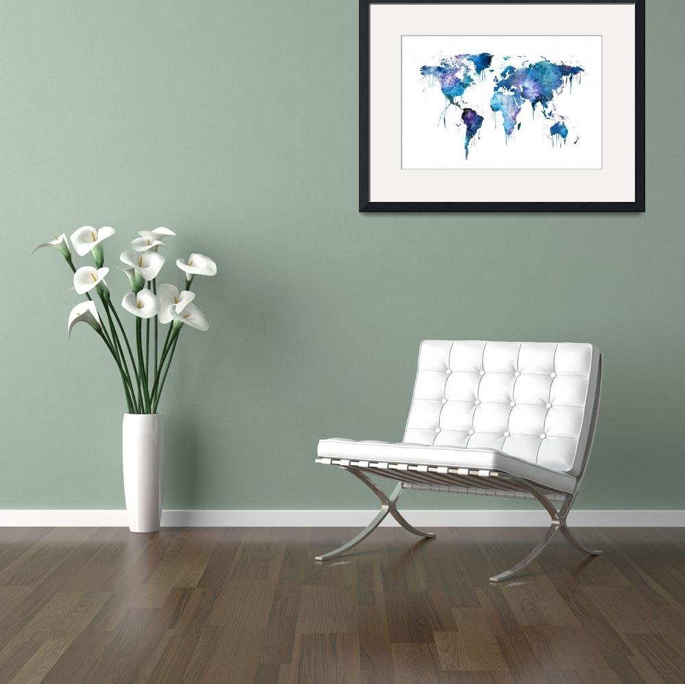 """""""Watercolor Map of the World Map&quot  (2017) by ModernArtPrints"""