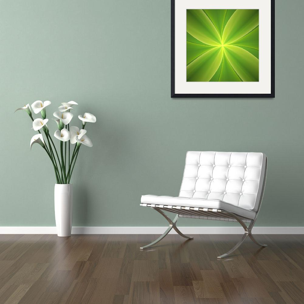 """""""Concise Green Abstract Flower&quot  (2012) by gabiw"""