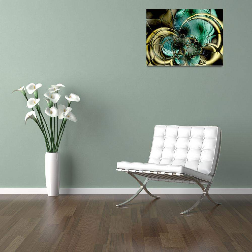 """""""Metal Gold Teal Glass&quot  (2009) by shanmaree"""