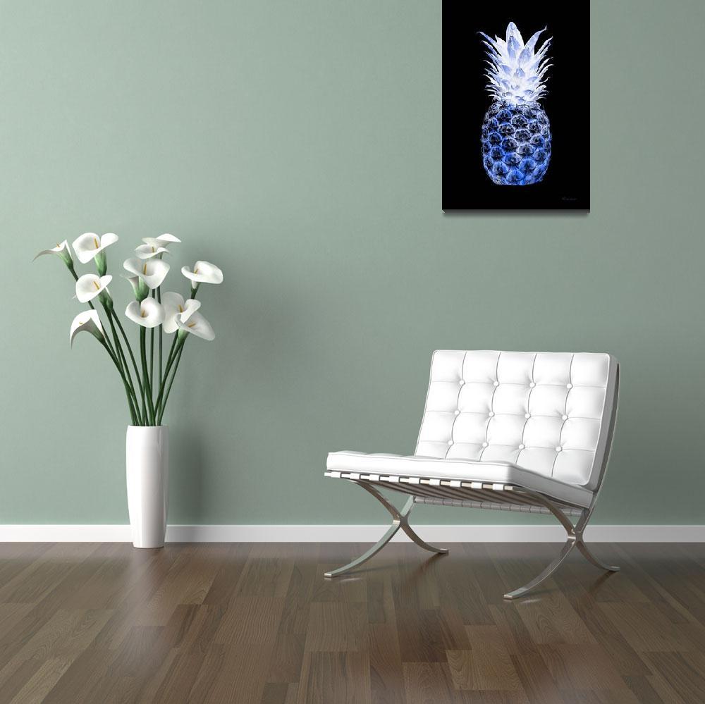 """14J Artistic Glowing Pineapple Digital Art Blue&quot  (2016) by Ricardos"