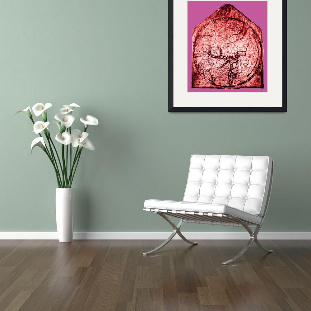 """""""Hereford Mappa Mundi Red Tint Small Pink Border&quot  (2014) by TheNorthernTerritory"""