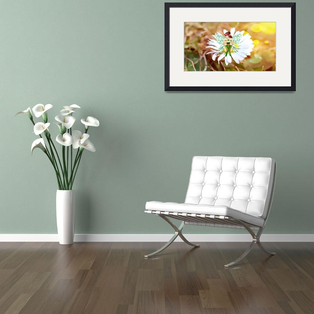 """""""Fantasy Figure sitting on Daisy&quot  by MarilynsArt"""
