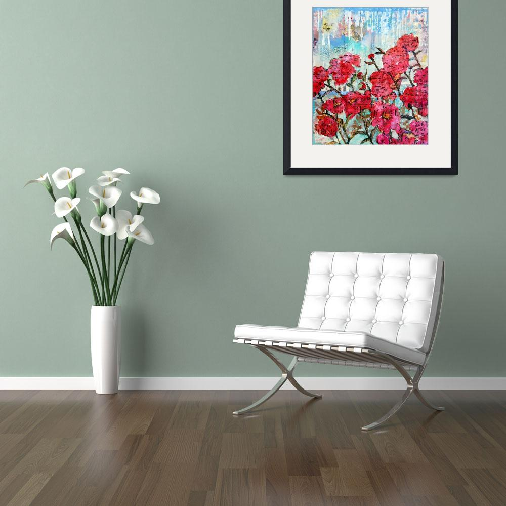 """""""Piano Peonies, floral mixed media collage art&quot  (2014) by schulmanart"""